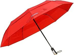 CUSTUMBRELA 折りたたみ傘 耐風ダブルキャノピー構造 高強度グラスファイバー ワンタッチ自動開閉 コンパクト型旅行用傘 頑丈な10本骨 軽量で大きい103cm 晴雨兼用