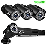 XVIM 1080P Wired Home Security Camera System 4CH CCTV DVR Recorder 4pcs Full HD 1080P Indoor Outdoor Waterproof Surveillance Cameras Night Vision, Motion Alert, Easy Remote Access (No Hard Drive)