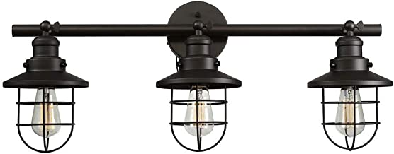 Globe Electric 59115 Beaufort 3-Light Wall Sconce, Dark Bronze, Removable Cage Shade
