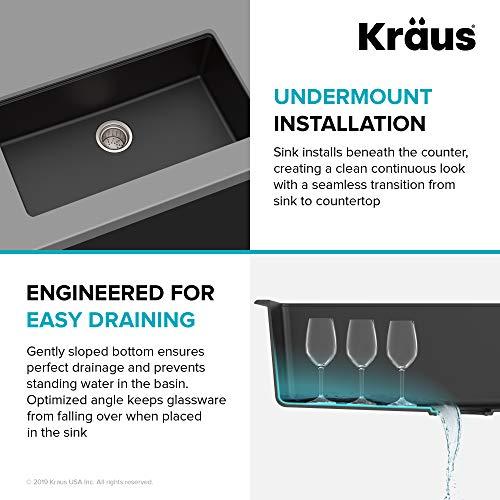 Kraus KGU-413B 31 inch Undermount Single Bowl Black Onyx Granite Kitchen Sink