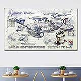 Liwendi スタートレック宇宙船青写真ポスターキャンバス絵画リビングルームの寝室アート絵画60×80センチ