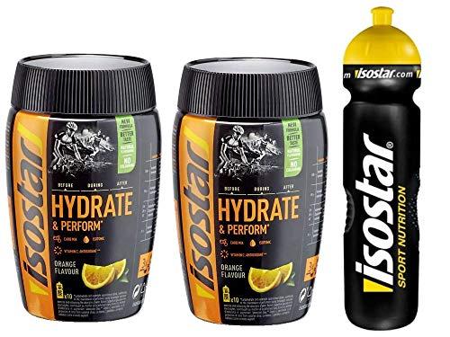 Isostar Hydrate & Perform - Orange - 2x400g Pulver | 2er Angebotspack + Original 1000ml-Trinkflasche