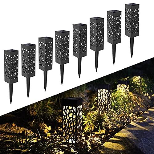 FLOWood Solarleuchte Garten LED Solar Gartenleuchte wasserdicht IP65 Solarlampe für Garten Außen mit Erdspieß Kunststoff 6 x 6 x 28 cm Warmweiß 6 Stück