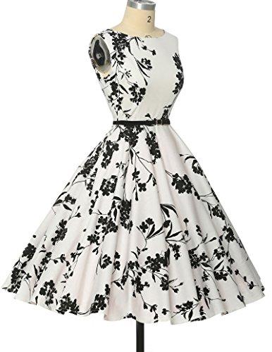 Schoene Blumenmuster festliches Kleid sommerkleid knielang rockabilly kleid L - 4