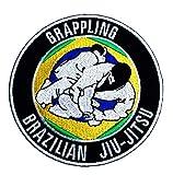 Parche bordado para planchar o coser de Jiu Jitsu brasileño de 8,89 cm con diseño de zigzag BJJ