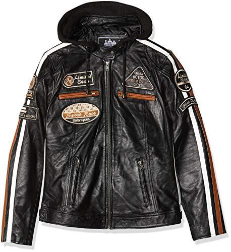 Damen Motorradjacke mit Protektoren, Schwarz, Große : XL