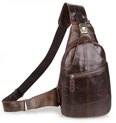 Everdoss, zaino a tracolla da uomo, in vera pelle, ideale per viaggi ed escursioni, uomo, 2467, Brown, Taglia unica