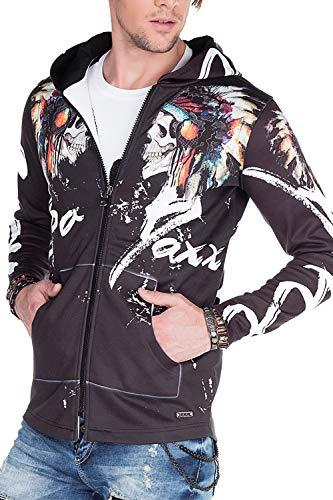 Cipo & Baxx Herren Sweatjacke Kapuzenjacke Sweat Pullover Design Asymmetrisch Sportlich mit Indigenem Allover-Print Schwarz M