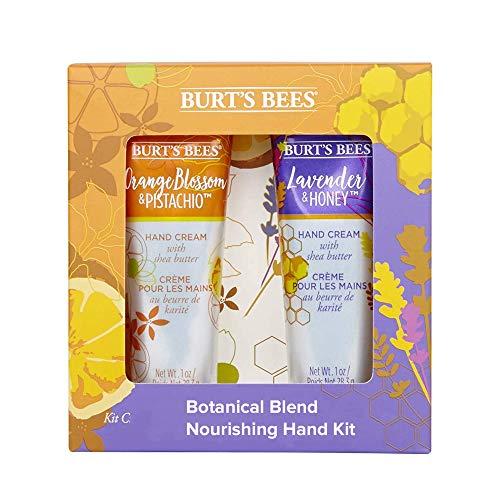 Kit para manos hidratante de 2 artículos con mezcla botánica Burts Bees con 1 crema de manos con lavanda y miel (28,3g) y 1 crema de manos con flor de azahar y pistacho (28,3g)