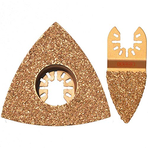 XXGO 2 Pcs Carbide Triangle Finger Oscillating Tool Blades Universal Compatible with Bosch Chicago Craftsman Dewalt Dremel Fein Harbor Freight Makita Milwaukee Porter Cable Ridgid Ryobi Rockwell XG2205