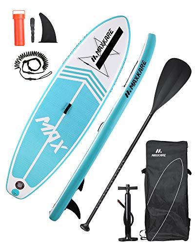MaxKare Stand Up Paddling Board SUP Board iSUP rutschfest Paddle Board mit komplettem Zubehör & Wasserdichter Rucksack Paddelboard Surfboard fürJugendliche Erwachsene im Fluss Ozean und See