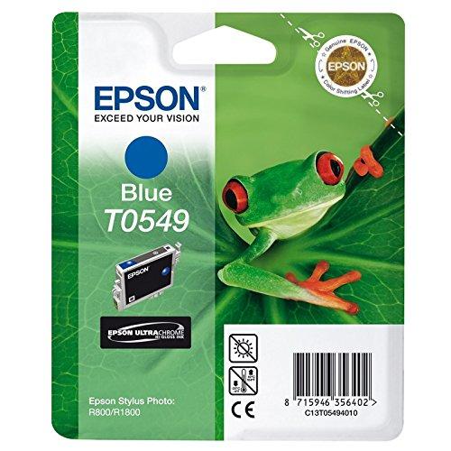 Epson Cartucho T0549 Azul - Cartucho de Tinta para impresoras (Azul, Epson Stylus Photo R800, 1800, Inyección de Tinta, 24,6 cm, 11,6 cm, 14,5 cm) Si