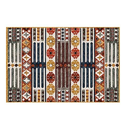 Alfombra de Diseño Geométrico Bohemio Alfombra de área Rectangular Estilo étnico Indio Alfombra de Pasillo Alfombra Antideslizante Alfombra para Niños Carpet Felpudo (Marrón,45*115 cm)