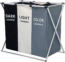 150L Laundry Cloth Hamper Sorter Basket Bin/Detachable 3 Sections Foldable Aluminum X-Frame for Bathroom Bedroom 27 X 24 X...