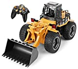 Top Race 6 Channel Full Functional Front Loader, RC Remote Control Construction Toy Tractor with Lights &...