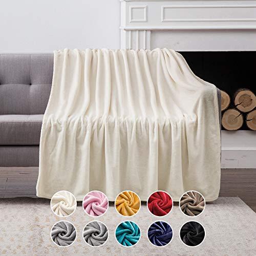 MIULEE Manta Blanket Terciopelo Grande para Sófas Mantilla de Franela para Siesta Súper Manta para Cama Ligera y Cálida Felpa para Mascota Cama Habitacion Dormitorio 1 Pieza 125x150cm Blanco Crema