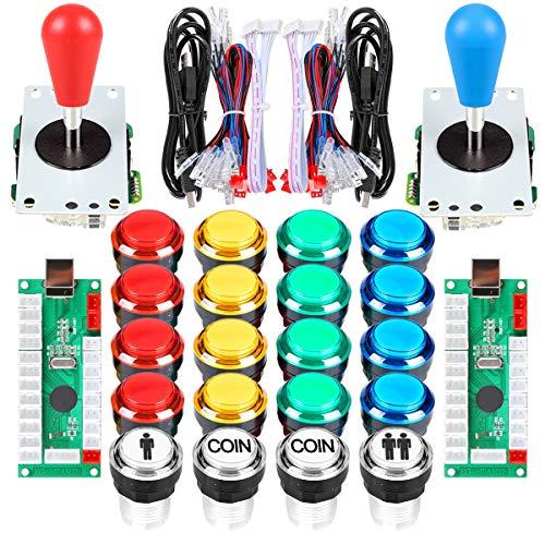 Arcade Kits 2 Player Classic Arcade DIY USB Encoder to PC Joystick Games + 2x 5Pin Rocker + 16x 30mm 5V LED Push Buttons 1 + 2 Players Coin Buttons For Raspberry Pi 1 2 3 3B Mame Fighting Stick