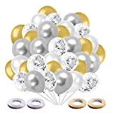Globos de Cumpleaños,Helio para Globos,60 Piezas Blancos Plateados Globo de Confeti latex Dorado para Mujeres Hombres Cumpleaños Decoración Graduación Fiesta de Halloween