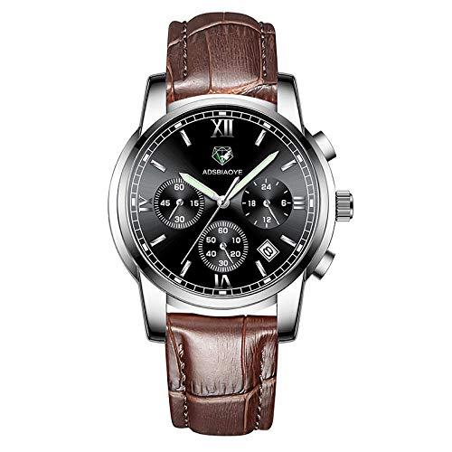 Reloj de Pulsera de Cuarzo para Hombre Reloj de Pulsera de Cuarzo analógico Resistente al Agua-B