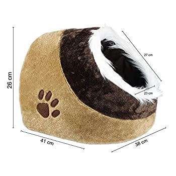 Todeco - Grotte pour Animaux en Peluche, Maison pour Chat - Matériau: Éponge Douce - Accessoires: (1x) Coussin Amovible - 41 x 38 x 26 cm, Marron