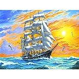 Pintura al óleo por números, paisaje, barco de vela, Diy, dibujo para colorear en lienzo, imágenes, pintura, kit para adultos para decoración del hogar, A4 50x70cm