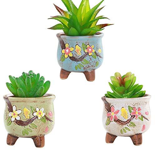 Umora陶器鉢 多肉植物 3個セット サボテン ミニ 植木鉢 フラワーポット かわいい インテリア(スタイルA)