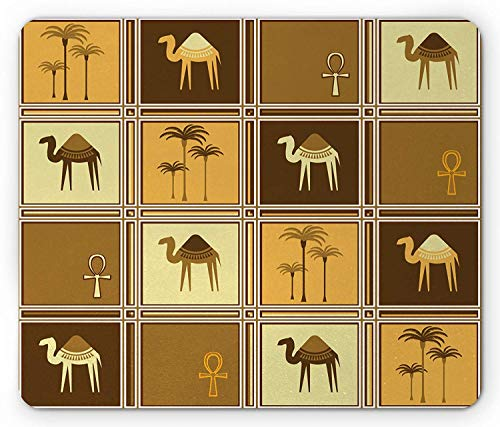 Ankh muismat, Afrikaanse Safari palmbomen met kamelen Arabische etnische Midden-Oosterse kunst, standaard formaat rechthoek anti-slip rubberen muismat, abrikoos bruin bleke koffie