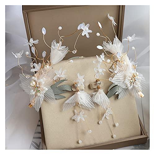 miaoyu 1 par de hermosos broches de flores pendientes conjuntos de accesorios para el cabello de la boda