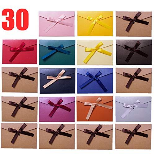 SLOSH 30 Sobres Vintage Kraft Regalo Invitacion Boda Felicitación Sobres De Tarjeta Visita Sobres Papel Kraft De Fiesta Cumpleaños Oficina Multicolor Retro Cinta