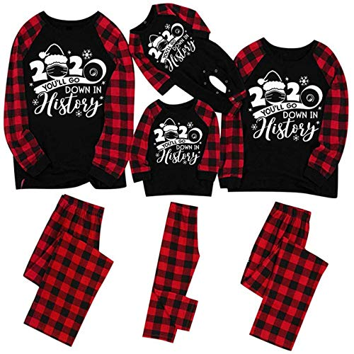 FORUU Womens Christmas Pajamas Christmas Pajamas for Family Santa Claus Printed Top and Plaid Pants for Adult Matching Xms Pjs Sets Sleepwear Holiday Decoration Best Merry Christmas Bedroom Favor