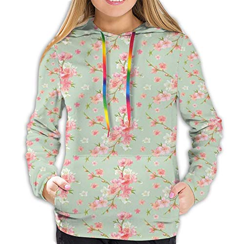 Women's Fashion Hoodies 7041D Print,Retro Spring Blossom Flowers with French Garden Florets Garland Artisan Image,Classic Pullover Hooded Sweatshirt,Large
