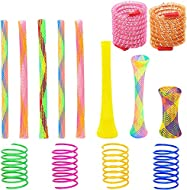 37 Pack Cat Spring Toys Set, Colorful Cat Spring Toy and Cat Tube Toy, Interactive Cat Toy for Indoo...