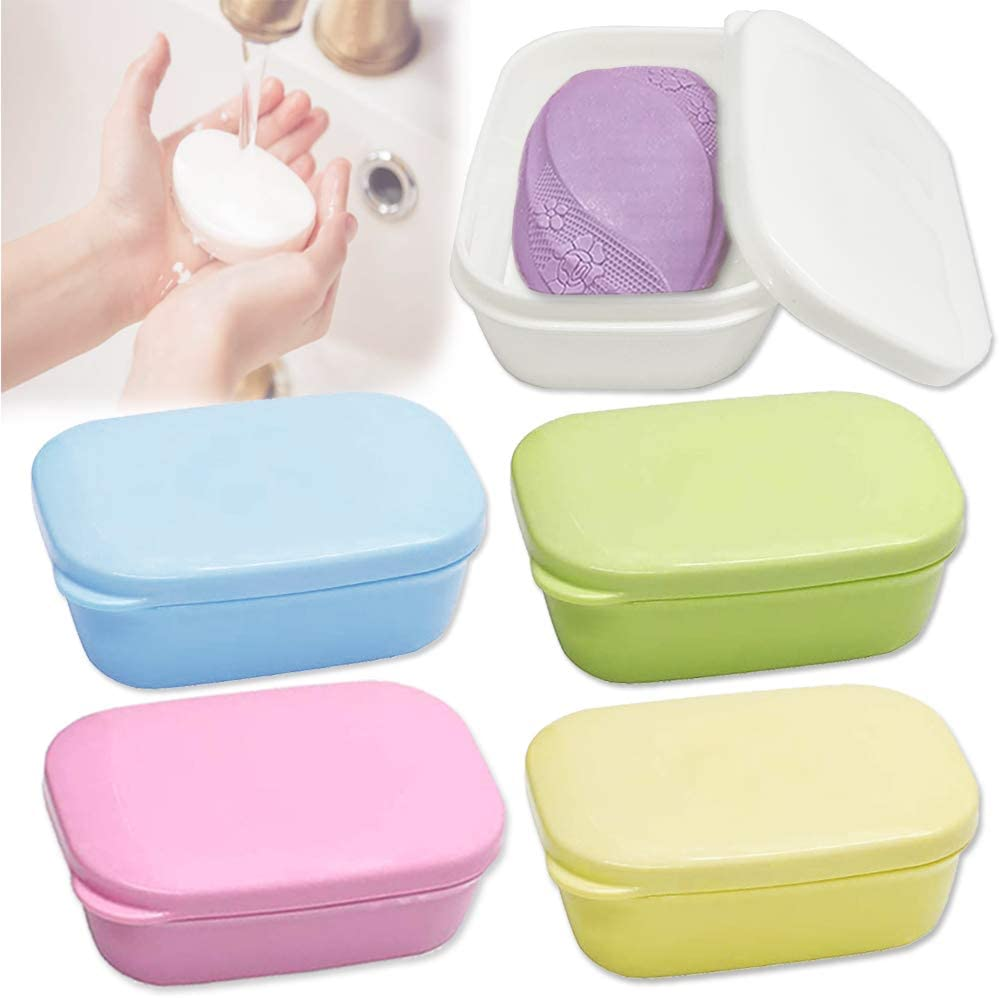 Yvjnxxan 5 Colors Plastic Soap Container,Soap Dish,Soap Box Holder,Soap Case with Lid and Drain for Bathroom Shower Home Outdoor Travel