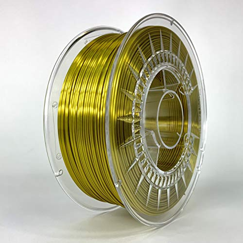 Devil Design | Filament | Silk gold - glanz gold | 1.75 | 1kG | für Anfänger und Fortgeschrittene | Top Haftung | wenig Stringing | leicht zu drucken | verzugsarm und geruchslos
