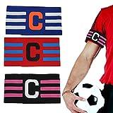 ZHIQIN 3Pcs Brazalete de Fútbol con Ajustable Velcro Elástico Fútbol Capitán Banda para Jóvenes Adultos Apto para Deportes Fútbol y Rugby para Adultos Adolescentes Niños