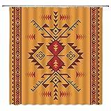 WZFashion Southwestern Duschvorhang Retro Abstrakt Azteken Indianer Südwesten Navajo Ethno Tribal Vintage Geometrisch Indisch Ethno Muster Stoff Badezimmer Vorhang Set mit Haken