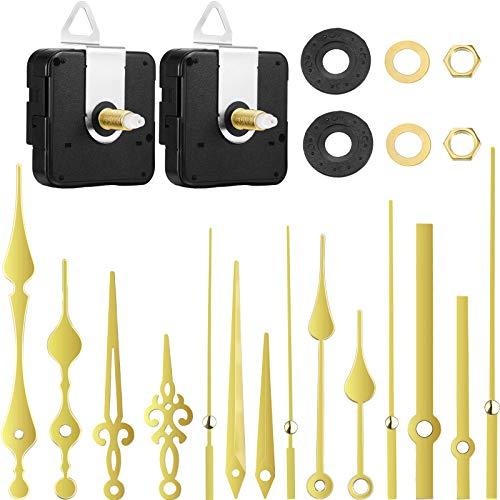 2 Stücke Hoch Drehmoment Uhrwerk Mechanismus 20 mm Langer Schaft Uhrwerk Mechanismus mit 5 Verschiedenen Zeigern Paare Wanduhr Ersatzteilen Ersatz