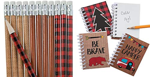 HAPPY DEALS ~ Woodland Camping Adventure Notepads - 24 Pack + 24 Coordinating Pencils