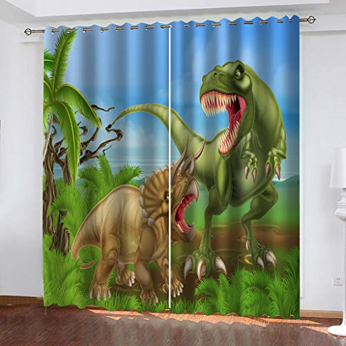 OIUEUNM Animal dinosaur Blackout Curtains Window Treatment Eyelet Curtains for Children Grey Two Panels-180cmX 250cm