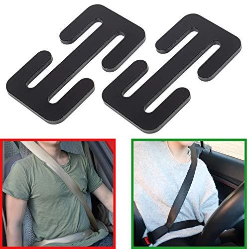 Sicherheitsgurt Hals Schutz, Autogurt aus Halsbereich entfernen, einfache Bedienung, Gurt verstellen und einstellen, 2 Pack, bis 4.1 cm Gurtbreite, Gurt Stopper Regler Clip, Auto Sicherheitsgurt Clip