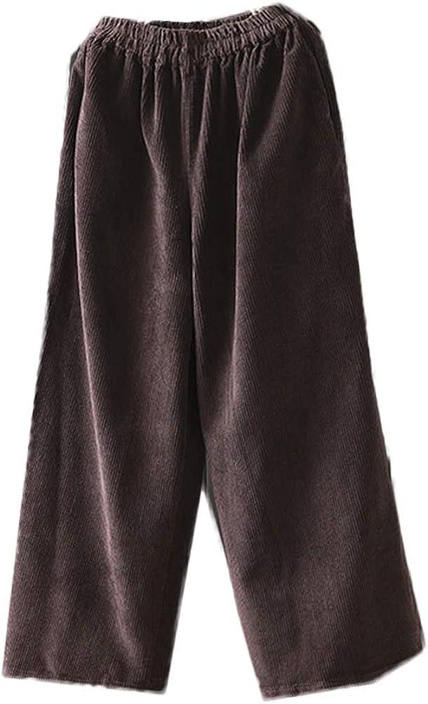 Mordenmiss Women's Wide Leg El Paso Mall Pants Casual Trouser Cotton Corduroy Regular store