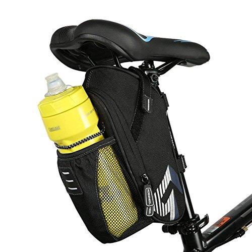 Intsun, marsupio posteriore per sella della bici con tasca per la borraccia, 1,6 l, per mountain bike, bicicletta da strada, per attrezzi e oggetti