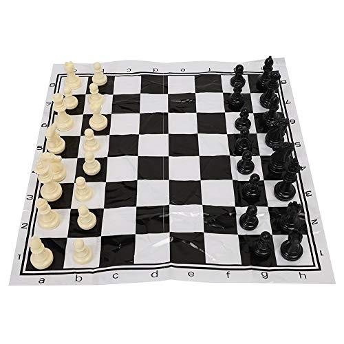 Alomejor Juego de ajedrez Juego de ajedrez Internacional de plástico portátil con ajedrez Medieval en Blanco y Negro