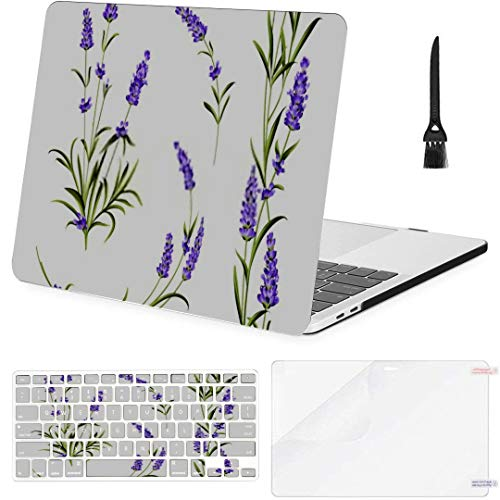 MacBook Pro Case Set Lavender Flowers Elements Collection On MacBook Air 13'(Touch ID) A1932 Plastic Case Keyboard Cover & Screen Protector & Keyboard