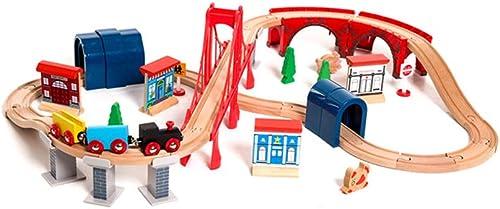 HXGL-Jouet wagon Viaduc GlisseHommest Série Voie Bois pour Assembler Les Cadeaux des Enfants Jouets (Taille   M)