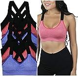 ToBeInStyle Women's Pack of 6 Wide Cross-Strap Sports Bra - L/XL