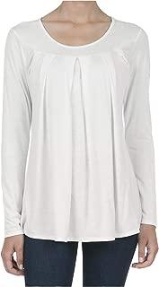 SHOP DORDOR Women's Long Sleeve Pleated T-Shirt Casual Tunic Blouse Tops