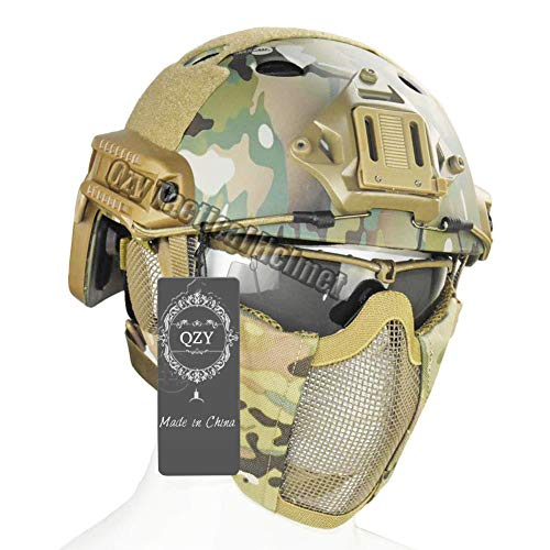 QZY Taktischer Fast Helm mit Protect Ear Steel Mask & Goggle Set für Airsoft Paintball Protective Anti-Riot Helm,CD