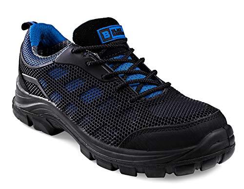 Calzado de Seguridad Impermeable para Hombres Puntera de Composite Sin Metal Ultraligera Botas de Trabajo para Caminar con Entresuela de Kevlar y al Tobillo S3 SRC 8007 Black Hammer (39 EU)