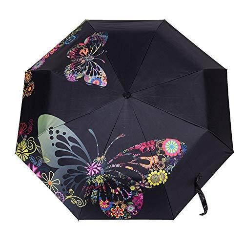 Paraguas Mariposa Plegable Paraguas Grandes A Prueba de Viento Mujeres Lluvia Paraguas Dama Resistente al Viento Revestimiento Negro Flor Parasol (Color : Black)